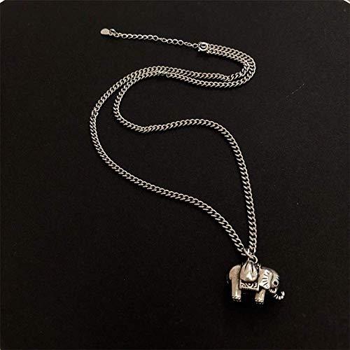 QINXI Elefante Colgante Collar Mujer 925 Puro Plata Pareja Collar ausp