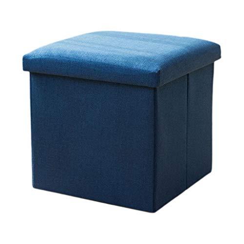 Reposapiés Otomano Cofre de almacenamiento plegable Asiento portátil Picnic Asiento Sofá Taburete Ahorro de espacio Carga máxima 100 kg Silla de color sólido ( Color : Blue , Size : 25*25*25cm )