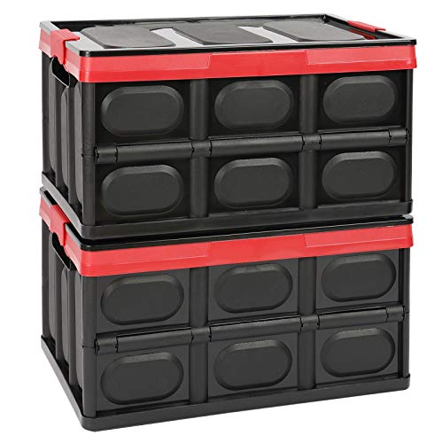 Tuevob 2 Pack Collapsible Storage Boxes Crates 30L Lidded Storage Bins Plastic Tote Storage Box Container Stackable Folding Utility Crate for Clothes, Toy, Books,Snack, Shoe Grocery Storage Bin-Black