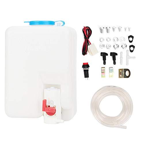 Duokon Depósito del limpiaparabrisas de, kit de lavadora universal Bomba de limpieza 12V 1.8L Depósito del limpiaparabrisas