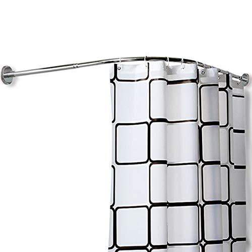 WHCQ Duschvorhangstange L Form Ohne Bohren Teleskop Duschvorhang Stange Edelstahl Kein Durchhängen Gebogene Duschstange Für Badezimmer Ecke Badewanne,(60~90) X(60~90) cm