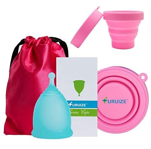 Copa Menstrual Furuize Sport con Taza de Esterilización. Silicona suave de grado médico 100%. Previene infecciones y fortalece el suelo pélvico. Alternativa saludable y ecológica (TALLA S)