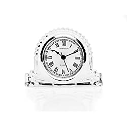 Shannon Small Silver Accent Mantle Around Face Clock - color Clear by TableTop King