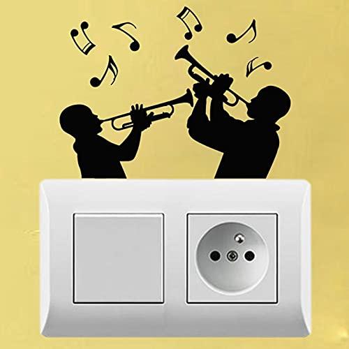 Instrumento Musical trompetista Nota Musical Pegatina de Pared Vinilo Pegatina para Interruptor de luz Accesorios Decorativos
