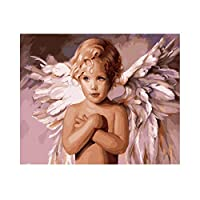 大人のための数字によるペイント初心者、簡単なDIY油絵アクリル水彩、子供のための数字によるペイント、リビングルームのアート装飾、特別なお土産40x50cm- 天使の翼