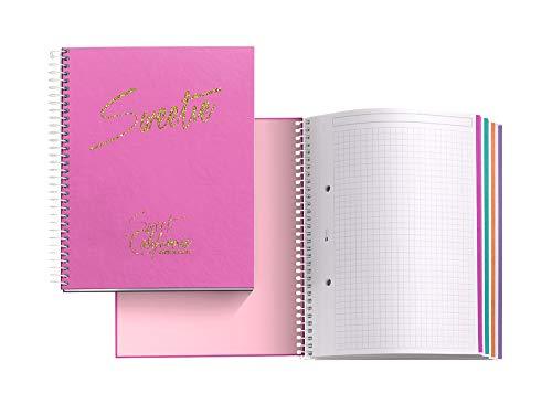 Chic&Love Sweet California - Cuaderno con 120 hojas y cuadrícula, A5, color fucsia