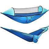 G4Free Hamaca de camping grande mosquitero ligero colgante cama hamacas árbol correas hamaca al aire libre mochilero senderismo patio trasero