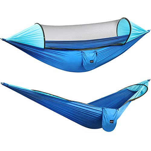 G4Free Large Camping Hammock with Mosquito Net 2 Person Pop-up Parachute Lightweight Hanging Hammocks Tree Straps Swing Hammock Bed for Outdoor Backpacking Backyard Hiking(Blue/Light Blue)