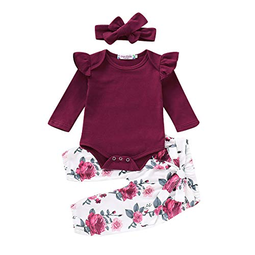 Newborn Baby Girls Clothes, Infant Kids Toddler Long Sleeve Ruffle Romper Bodysuit and Floral Pants Set Outfits (Red-Longsleeve, 18-24Months)