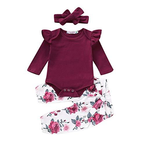 Carolilly Neugeborenes Baby Mädchen Langarm Body Romper Overalls + Hosen Outfits Set Kleidung Set (9-12 Monate, Weinrot)