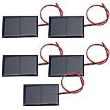 5 Piezas Mini Módulo de Panel Solar Diy Cargador de Epoxi Solar de Polisilicio, DC 2V 300Ma Panel de Batería Solar Módulo de Epoxi de Polisilicio Placa de Generación de Energía