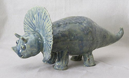 Dinosaur Sea Blue Triceratops Coin Bank (T124)