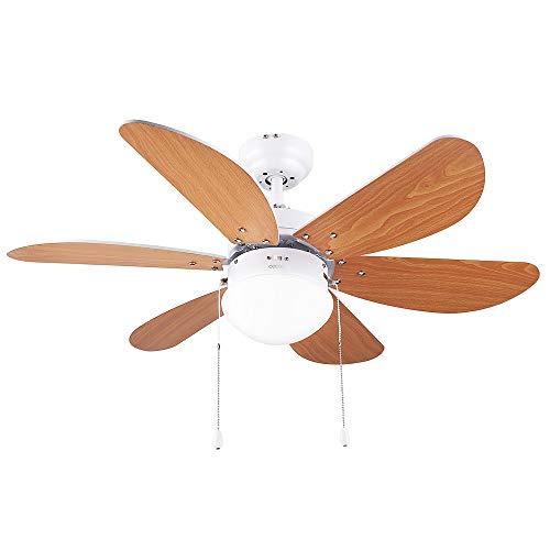 Cecotec Ventilatore da Soffitto ForceSilence Aero 360 6, 36'', 50 W, 3 velocità, con lampada, pale Reversibili, Marrone, 36