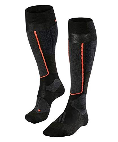 FALKE Damen Ski Touring Socks ST4 Wool, Kniestrümpfe mit Merinowolle, Ski Langlauf Socken, extra leichte Polsterung, Schneewandern und Wintersport, 1 Paar, Schwarz (Black-Mix 3010), Größe: 37-38