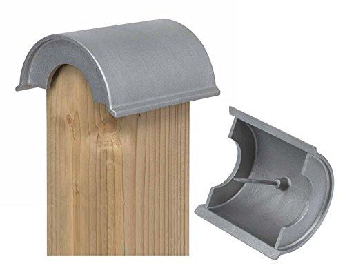 10 STÜCK ALU DRUCKGUSS Runddach Pfostenkappe (70er Pfosten) - auch bei nicht gerundetem Pfosten einsetzbar - einfach Kanten 2cm schräg absägen