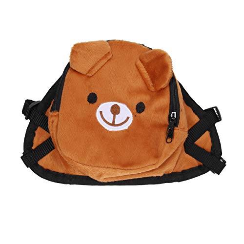 Ueetek Rucksack für Hunde, Rucksack, Tasche für Tiergeschirr in Bärenform, für Outdoor-Training, Camping, Reise – Größe S (braun)