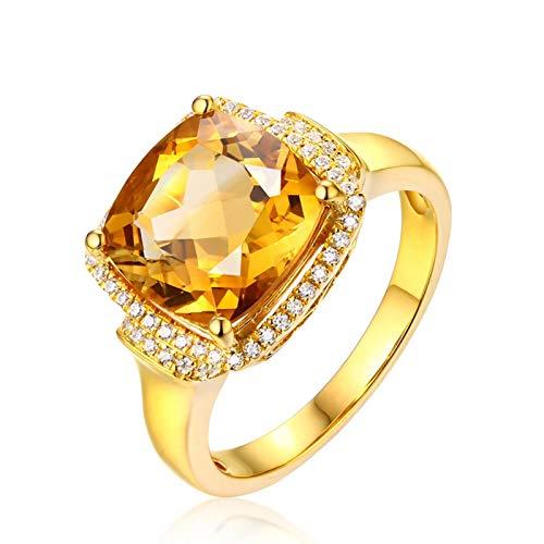 Bishilin Damen Ringe Gold 18 Karat Groß Kissen Citrin 3.8ct mit Diamond Verlobungsringe Gold Trauringe Gr.62 (19.7)