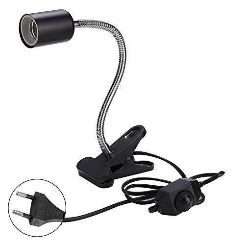 Lámpara de calor de reptil de 40 cm de largo, accesorio de sujeción con clip giratorio de 360 ° y adaptador de corriente para reptiles para mascotas Hábitat Bombillas / lámparas de calor(EU 220V)