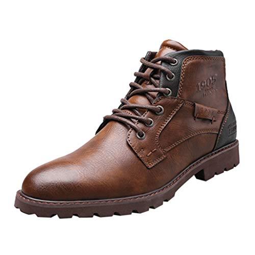 Bottes Motardes Homme,Bottes Homme Automne Hiver Fourrées Boots en Cuir Imperméable Chaussures à Lacets Bottes de Moto,Chaussure de Cuir Homme Coton,Bottes & Bottines Classiques Cuir