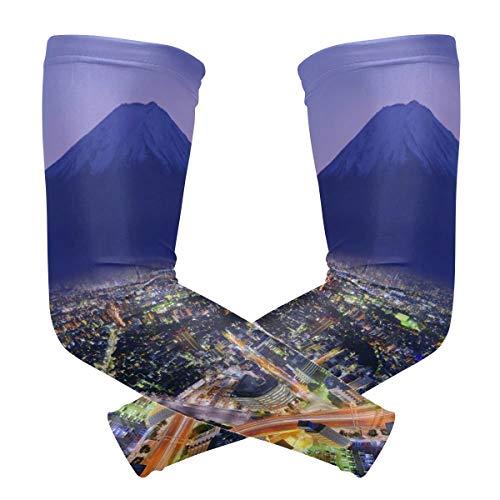 LUPINZ Flourishing City Yokohama Muster Armstulpe Kompressionsstrümpfe Armband UV-Schutz Kühlung Sonnenschutz für Outdoor-Sportarten x 1 Paar