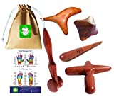 Lungcha Traditional Thai Massage Wooden Stick Tool, Reflexology, Acupuncture Point Gua Sha for Body, Foot, Hand, Head, Face, Nose, Neck, Back, Waist Massage (Set 5 Full Body Massage)