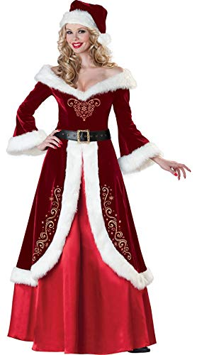 fagginakss Weihnachtsmann Kostüm Für Erwachsene Cosplay Weihnachten Verkleidung Set Weihnachtself Frau Nikolaus für Herren Mit