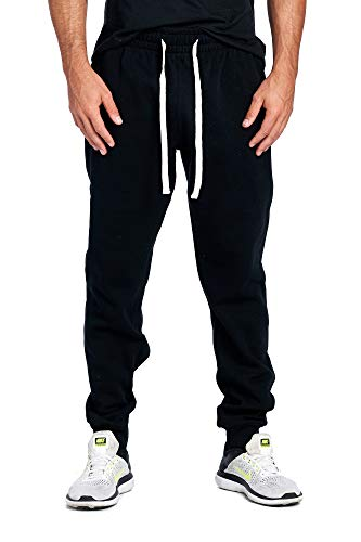 ProGo Men's Joggers Sweatpants Basic Fleece Marled Jogger Pant Elastic Waist (Large, Black)