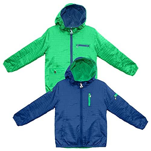 Frenchie Mini Couture 100% Polyester Nylon Boys & Girls Rain Jacket, Hooded Kids Raincoats, Navy/Green, 8T