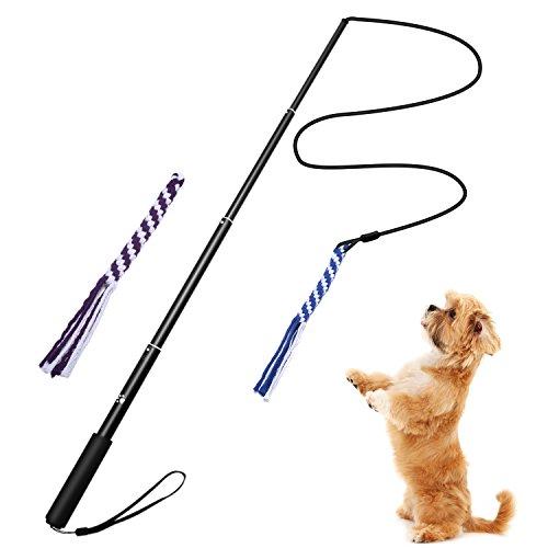 Interactive Dog Tug Toy, ANG Extendable Dog Teaser Wand...