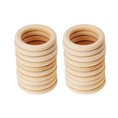 Toygogo 40pcs Unvollendete Baby Ring Holz Kinderkrankheiten Halskette Armband Schmuck Machen Zu Finden