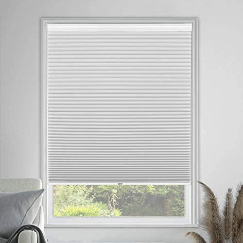 MiLin Cellular Shades Blackout Cordless, Fast Delivery Window Blinds and Shades Custom Cut to Size, No Light Leakage Privacy Single Cell Honeycomb Shades - Frost White