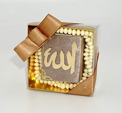 Lale's Presents - Mini Koran inkl. Gebeteskette 99 Perlen - Minik Kuran i Kerem ve tesbih INCI 99'lu - Hediye sünnet, mevlid, dügün - Geschenkidee Quran Kuran tesbih (Creme)