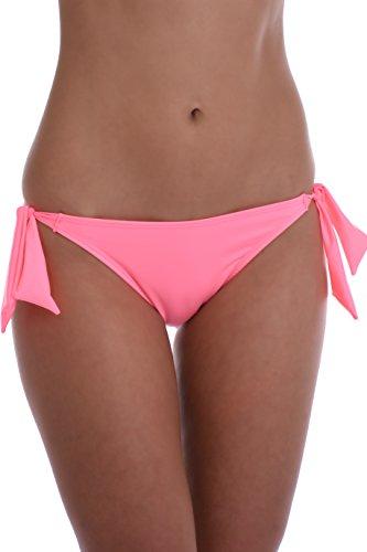 TIARA GALIANO Sexy Damen-Bikinihose, Tanga, Bänder, seitlich bindend, hergestellt in der EU - Pink - Medium