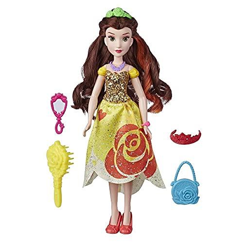 Disney Princess - Belle (Bambola Fashion con Abito dai Colori Vivaci e Stampe audaci, con Spazzola e Accessori per Capelli, Serie Be Bright, Be Bold)