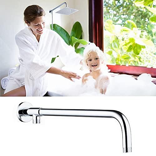 Braccio doccia in ottone, braccio doccia in acciaio inox per il fissaggio del soffione con supporto in ottone montato a parete, base in rame + tubo in acciaio 304 con una lunghezza totale di 49 cm.