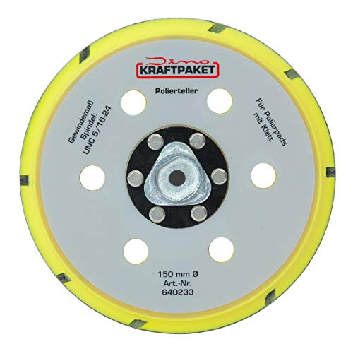 Dino KRAFTPAKET 640233 150mm-5/16-24 Backing Plate (5 inch) for Dual Action Orbital Polisher 900W & 950W, Yellow, 150mm (6 Inch)