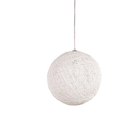 MEGSYL hanglamp van hennep, modern, minimalistisch en minimalistisch voor industrie, woonkamer, restaurant, balkon, decoratieve kroonluchter, hanglamp 1 bal lichtbron, rotan plafondlamp, wit