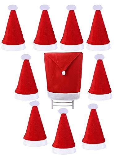 LUCKLYSTAR® Besteck Tasche Weihnachten Besteckhalter Taschen Dekoration Besteck Weihnachten Stuhlhusse Santa Clause Red Hat Design Stuhlüberzug für Haus Restaurant Hotel Hochzeit Party Deko 10PCS