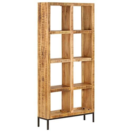 vidaXL Mangoholz Massiv Bücherregal mit 8 Fächern Standregal Aktenregal Raumteiler Wandregal Regal Raumtrenner Holzregal Büroregal 80x25x175cm