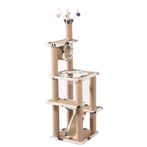 XinQing-Parque Infantil para Gatos 65,6 Pulgadas de árbol Gato con Cubiertos-sisal arañar Puestos, Cápsula Espacial Nest, de Plataforma, túnel y Que cuelgan Bolas, Gatito Escalada House