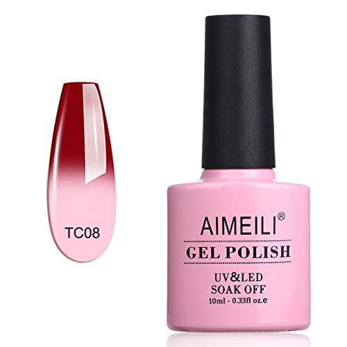 AIMEILI UV LED Nagellack Thermo Gellack ablösbarer Temperatur Farbwechsel Gel Nagellack Gel Polish - Red Horizon (TC08) 10ml