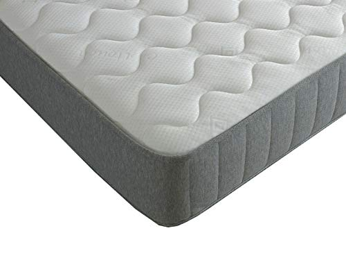 Extreme Comfort Single Cool Blue Memory Foam Open Coil Sprung Mattress 9 Layer Construction Spring & Memory Foam Mattress & Jersey Knitted Top Panel - 3ft Single