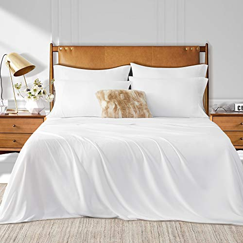 "Umchord Bamboo Sheets Set, 6 Piece 100% Bamboo Bed Sheets Queen, Cooling Sheet Set for Hot Sleepers, Moisture Wicking Bed Sheets with 16"" Deep Pocket, Silky Soft Bedding Sheets (Queen, White)"