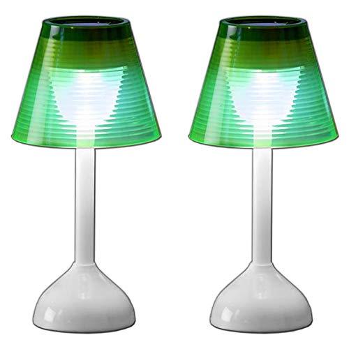 2er Set Solar LED Tischlampe Kunststoff Solarleuchte Lampe Tischleuchte Solarlampe Garten Beleuchtung Solarbetriebenes Tisch Dekolicht