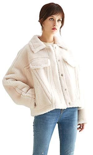 VUTOLEE Women Faux Fur Coat - Fashion Winter Warm Shearling Shaggy Jacket Windproof Loose Shoulder Lapel Lamb Fur Coats L11 Cream White
