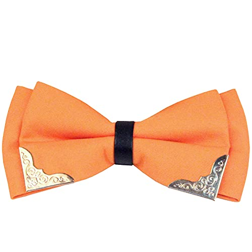 Men's Male Boy Pre-Tied Formal Tuxedo Wedding Party Bow Tie Adjustable Large Bowtie Necktie BT5 (Orange)