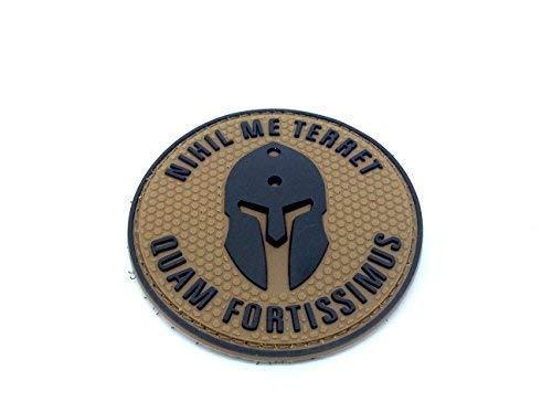 Patch Nation Nihil Me Terret Quam Fortissimus Spartan PVC Airsoft Paintball Klett Emblem Abzeichen Hellbraun