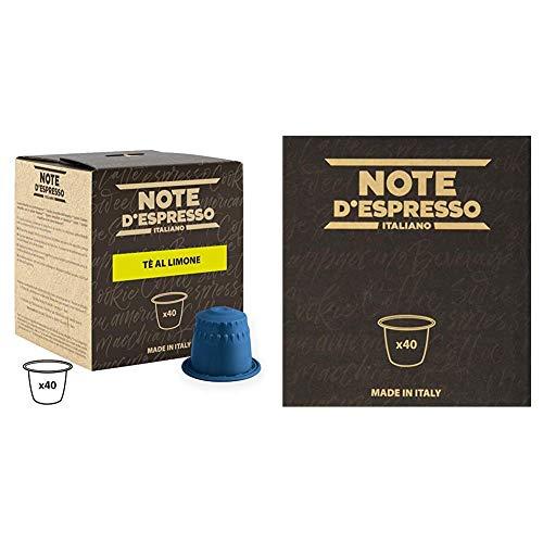 Note D'Espresso Cápsulas de Té, Limón - 40 Unidades da 8g, Total: 320 g Exclusivamente Compatible con cafeteras Nespresso + Cápsulas de té verde exclusivamente compatibles con cafeteras Nespresso