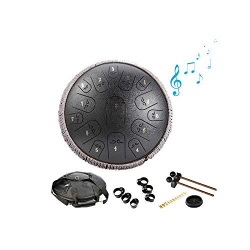 Zungentrommel Handpan Trommel für Kinder Steel Tongue Drum 14 Zoll 15-Ton C Schlüssel Perkussion Handpan Instrument mit Schlagzeug Schlägel Tragetasche,für Die Meditation Yoga Musikausbildung