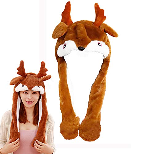 DSHE Party Cosplay Funny Plush Reindeer Hat and Hamster Hat with Moving Jumping Ears, Cute (Reindeer)